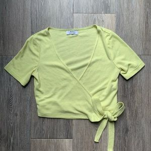 BERSHKA Yellow Wrap Top